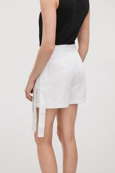 COS image 3 of Wrap-over skirt shorts in White