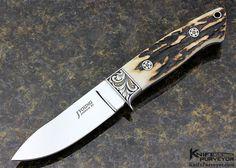John Young Custom Knife Stag Semi Skinner Engraved by Julie Warenski - John Young custom knife - image 1