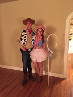 Had to pin my Pixar Perfect Halloween Couple's Costume! Sheriff Woody and Li… Had to pin my Pixar Perfect Halloween Couple's Costume! Sheriff Woody and Little Bo Peep turned out beautifully! Disney Couple Costumes, Cute Couple Halloween Costumes, Cute Couples Costumes, Couples Halloween, Family Halloween, Halloween Outfits, Diy Costumes, Group Costumes, Couple Costume Ideas