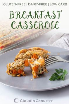 This breakfast casserole recipe is easy to throw together and it can be made ahead of time. It's gluten-free, dairy-free, low carb and full of nutrients. Healthy Breakfast Recipes, Brunch Recipes, Healthy Recipes, Healthy Brunch, Savory Snacks, Meat Recipes, Delicious Recipes, Free Recipes, Ketogenic Diet