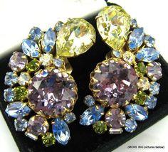 Vintage Earrings Big Glitzy Signed Hobe Purple Yellow Blue Rhinestone Clip Earrings