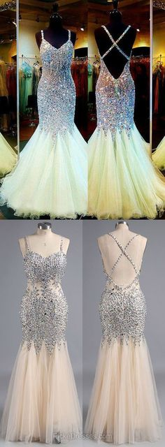 Champagne Prom Dresses Long, Cheap Prom Dresses For Teens 2018, V-neck Formal Party Dresses Backless, Mermaid Evening Pageant Dresses Tulle Crystal Detailing