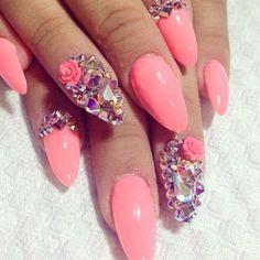 Stiletto swarosky nails
