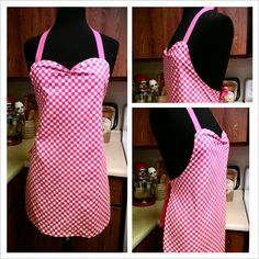 Audrey Apron, Pink with white polka dots $40  seth@houseofsandol.com  Copyright ©2011-14 HOUSE OF SANDOL