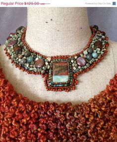 ON SALE Bead Embroidered Collar Necklace Picture by bjswearableart, $75.00