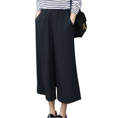 Cheap pants fashion, Buy Quality pants female directly from China trousers women Suppliers: 2017 Spring Summer Fashion High Waist Chiffon Wide Leg Pants Female Plus Size Loose Casual Nine Yards Pants Trouser For Women