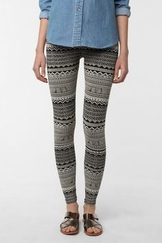i bought some aztec leggings and i dont know what to wear them with.