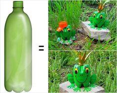 Upcycled plastic bottles frog