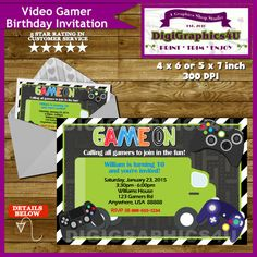 Game Truck Video Gamer Birthday Party Invitation by DigiGraphics4u #video #gamer #birthday #invitation #game #truck @etsy
