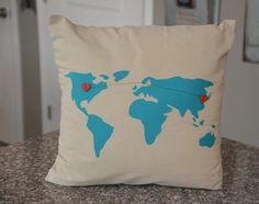 Turquoise World Map Pillow Cover 18 x 18 by HomeSweetMichigan