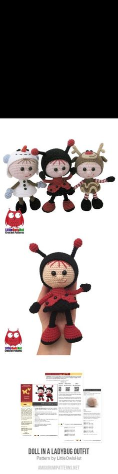 Doll In A Ladybug Outfit Amigurumi Pattern