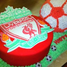 EPL Liverpool FC cake and soccer ball with handmade logo