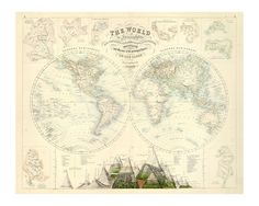 Vintage Blue Map Of The World Mural Muralswallpaperco