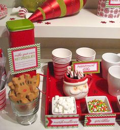 Make your own hot chocolate mini bar for a christmas party