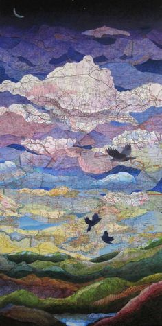 New Sewing Art Painting Mixed Media Ideas Map Collage, Paper Collage Art, Collage Art Mixed Media, Mixed Media Artists, Landscape Quilts, Landscape Art, Newspaper Art, Magazine Collage, Sewing Art
