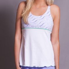4 spaghetti-strap racerback TENNIS top with slight a-line shape for a more flattering fit. Soft microfiber mesh fabric. SHOP Activewear http://www.denisecronwall.com/#!product/prd13/2521066401/calypso-training-top