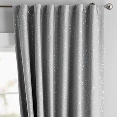 Make your room sparkle like the night sky with this Iridescent Stars Blackout Curtain Panel. The curtain is sewn entirely of fabric – no plastic! – and filters out light and sound to help you catch the best ZZZs. Grey Kids Curtains, Light Blue Curtains, Curtains Over Blinds, Light Blocking Curtains, Panel Curtains, Contemporary Leather Sofa, Pottery Barn Kids Backpack, Blackout Drapes, Sheer Drapes