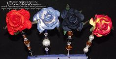 Large Rose topped stick pins for card making by busybusyhoneybee. , via Etsy.