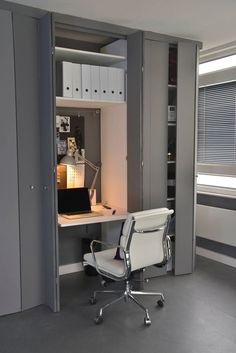 Small Apartment Design Idea - Create A Home Office In A Closet | This small closet is just the right size for a well organized office space, and if it gets a little less organized the doors can still close to conceal it.