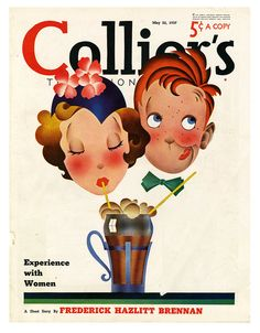 A Milkshake Made For Two - May 22, 1937 cover of Collier's magazine. -vintage 1930s cute