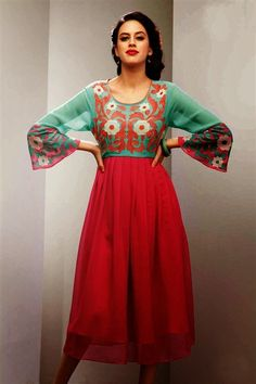 Red And Green Color Designer Party Wear Kurti - $35.00