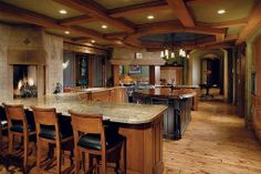 Granite - complex, Hardwood, Island, Breakfast Bar, Box, Mediterranean, Columns, Raised Panel, Galley, Undermount, Flush/Semi-Flush Mount