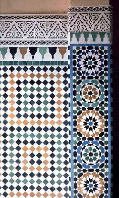 Image MOR 0720 featuring decorated area from the Tomb of Moulay Ishmael, in Meknes, Morocco, showing Geometric Pattern using ceramic tiles, mosaic or pottery.