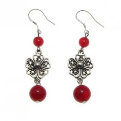 This handmade Tibetan silver earrings features red agate beads with flower design. The flower-shaped design has an intricate pattern and dangle from your ears to create an elegant look. Product Featur