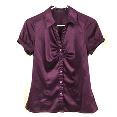 Purple short sleeve button down The Limited silky purple short sleeved button down blouse.  Adjustable button detail on each sleeve.  Please make me an offer and don't forget about my bundle discount!  The Limited Tops Button Down Shirts