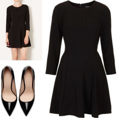 Topshop Crepe Fit and Flare Black Dress This versatile crepe dress comes in a girly skater shape with 3/4 length sleeves. Seamed paneling gives added edge. Pair with elegant pumps to dress it up or a long pendant necklace and boots for a more relaxed look. Excellent quality. Topshop Dresses Mini