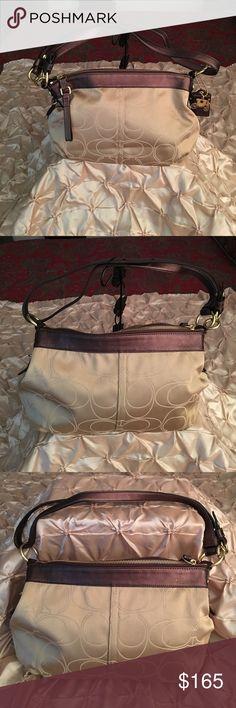 Coach Mia Signature Bag Coach Mia Signature Sateen Outlined C Convertible Bag - Khaki/Mahogany Medium Size Coach Bags Shoulder Bags