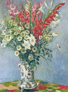 """monet claude bouquet of gadiolas lilies and dasies 1878 (from <a href=""""http://www.oldpainters.org/picture.php?/31015/category/13299""""></a>)"""