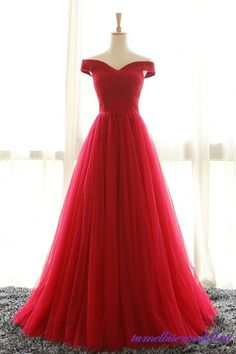 Full Length Off Shoulder Sleeves Red Bridesmaid Dresses, Tulle Prom Dress, Long Prom Dress, Woman Evening Dress, Long Formal Dresses Red Formal Dresses, A Line Prom Dresses, Cheap Prom Dresses, Summer Dresses, Prom Gowns, Designer Prom Dresses, Formal Prom, Wedding Dresses, Red Bridesmaids