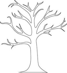 """great tree outline for preschool activity - had kids color and glue popcorn on. sang """"popcorn popping"""" and go out to look at blossoming trees. by fannie"""