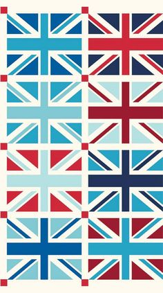 Union Jack Squares Designer Fabric from Riley by 44thStreetFabric, $8.99