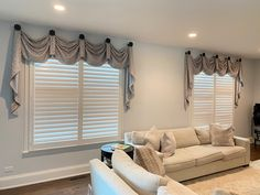 New valances for a family room in Glenview, IL Patio Windows, Blinds For Windows, Window Treatments Living Room, Living Room Windows, Valances, Valance Curtains, Hunter Douglas Blinds, Behind Couch