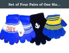 Set of Four Pairs of One Size Magic Stress Gloves for Infants Ages 1-4 Years