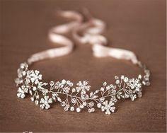 HITOP Retro Griechisch elegante Damen Süß Luxus Strass Zweig Blume Brauthaarschmuck Prinzessin Haarreif Haarschmuck Stirnschmuck Hochzeit
