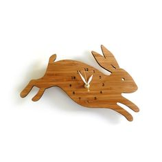 Rabbit wall clock with numbers by decoylab on Etsy, $70.00