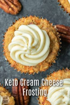 This Keto Cream Cheese Frosting is a low carb frosting recipe that makes the perfect topping for all of your low carb baking. Low Carb Sweets, Low Carb Desserts, Low Carb Recipes, Dessert Recipes, Banting Recipes, Ketogenic Desserts, Jam Recipes, Recipies, Low Carb Frosting Recipe