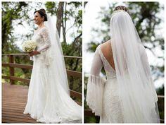 vestido da noiva, grinalda e véu Emannuelle Junqueira - Casamento Caroline Formenton e Lucas Rodrigues