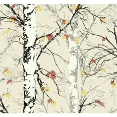 Graphic birch trees and silhouette leaves illustrated with a pop of color complete the look of this botanical wallpaper pattern. The organic forms of nature are the inspiration for this chic wallcovering. Unique patterns and bold colors always make a Forest Wallpaper, Tree Wallpaper, Wallpaper Roll, Pattern Wallpaper, Leaves Wallpaper, Bathroom Wallpaper, Wallpaper Ideas, Nature Wallpaper, Botanical Wallpaper