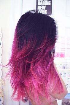 Pink highlights on brown hair. Pink ombr.