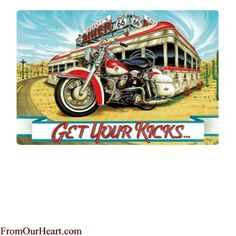 Get Your Kicks (On Route 66) Tin Sign by Ande Rooney. Measures 14 x 9 3/8. $12.75