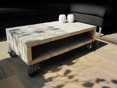 Salontafel / TV-meubel op zwenkwielen | Steigerhout | Te koop bij w00tdesign