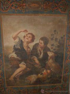 Impresionante tapiz óleo de artista, firmado, representando escena de Murillo. Fines XIX