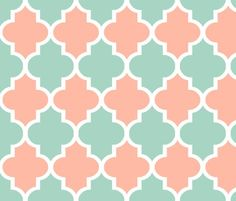 mint and coral pattern fabric | Quatrefoil in Mint and Coral fabric by sparrowsong on Spoonflower