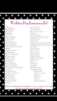 Wedding Day Emergency Kit - Pack for the bride and give to her as a gift before… Wedding Day Checklist, Wedding Day Tips, Wedding Planning Tips, Wedding Planner, Wedding Ideas, Wedding Coordinator Checklist, Wedding Checklists, Dream Wedding, Wedding Binder
