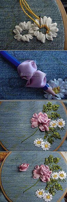 "Ideas for ""Hattie's Embroidery Blessings""~Have A Blessed Day~ Ribbon Flower Tutorial, Ribbon Embroidery Tutorial, Silk Ribbon Embroidery, Crewel Embroidery, Cross Stitch Embroidery, Embroidery Designs, Hand Embroidery Patterns, Ribbon Art, Diy Ribbon"