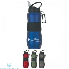 Screw On, Spill-Resistant Sip Top Lid With Black Carabiner Rubber Grip Meets FDA Requirements BPA Free Hand Wash Recommended Multi Color Imprint - Not Available *Must be ordered in case packs of 36 Custom Water Bottles, Stainless Steel Bottle, Tumblers, Packing, Tags, Sports, Bag Packaging, Hs Sports, Personalized Water Bottles